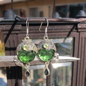 Jewelry - Face Green/Magic Quartz Sterling Silver Earrings